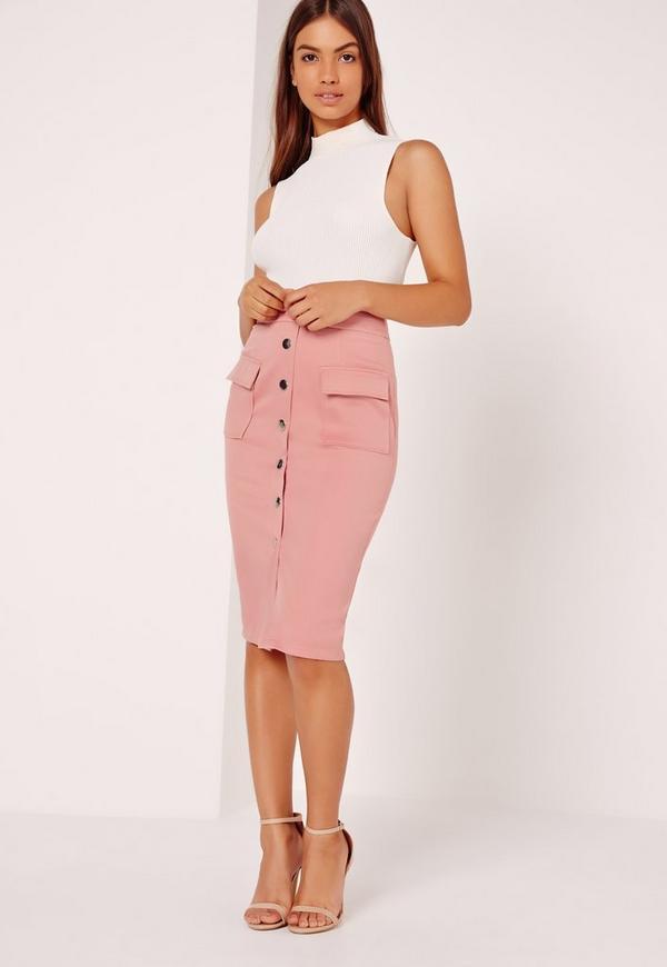 Button Through Pocket Detail Textured Skirt Pink