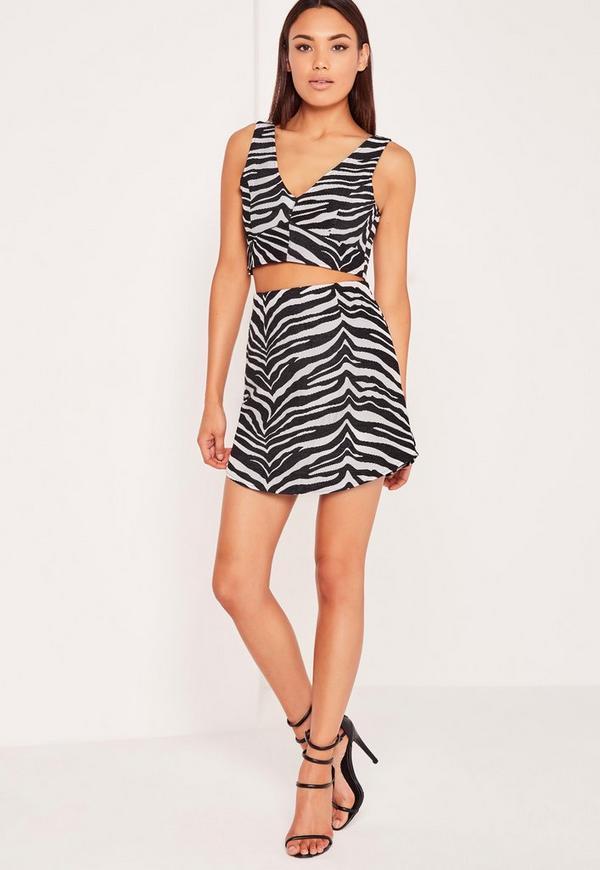 Zebra Jacquard Mini Skirt Black