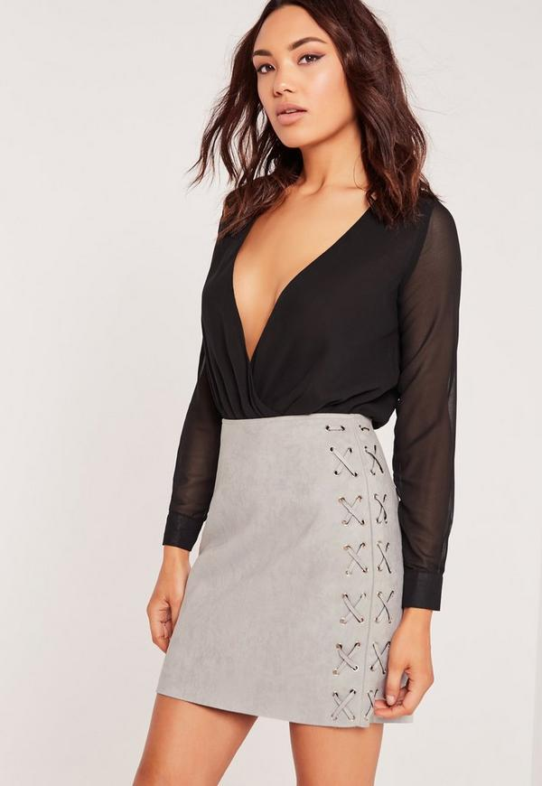 Faux Suede Lace Up Side Mini Skirt Grey