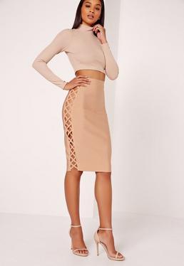 Lace Up Double Side Bandage Skirt Nude