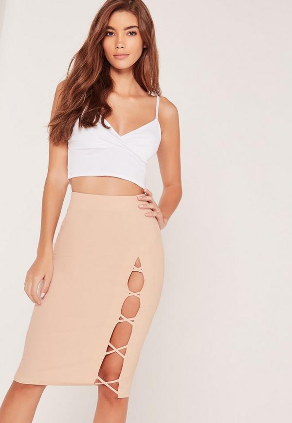Criss Cross Side Midi Skirt Pink