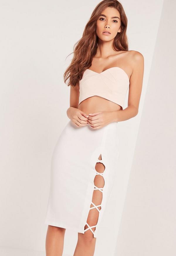 Criss Cross Side Midi Skirt White