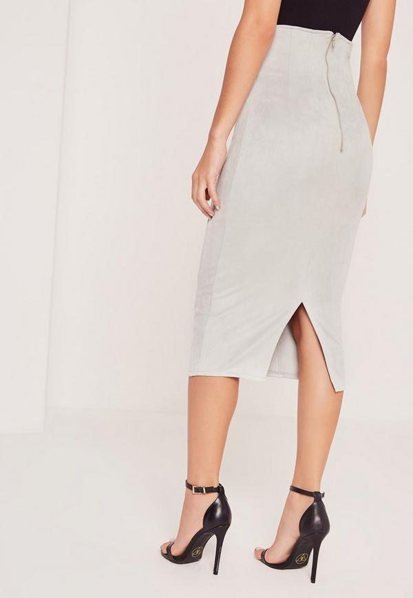 Lace Up Eyelet Faux Suede Midi Skirt Grey - Missguided
