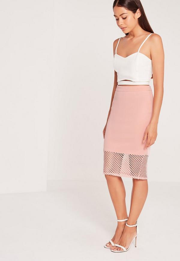 Mesh Hem Midi Skirt Pink