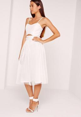 Mesh Full Airtex Midi Skirt White