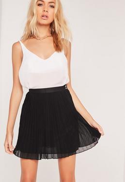 Pleated Full Chiffon Mini Skirt Black