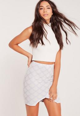 Patterned Asymmetric Split Front Mini Skirt Multi