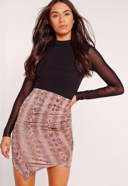 Slinky Snake Print Asymmetric Mini Skirt Pink