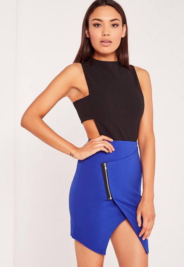 Zip Side Asymmetric Mini Skirt Cobalt Blue