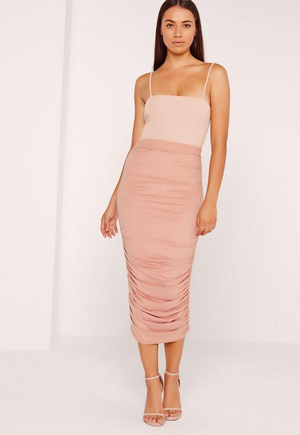 Ruched Side Faux Suede Midi Skirt Pink