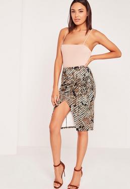 Snake Wrap Tie Side Midi Skirt Multi