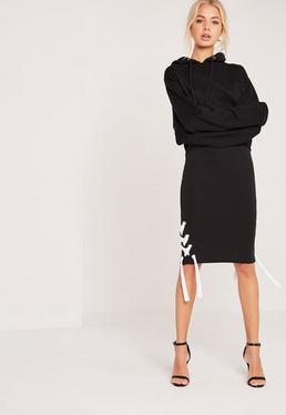 Chunky Lace Up Side Rib Midi Skirt Black