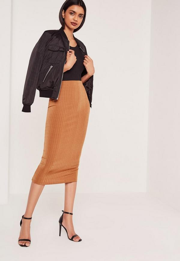 Wide Rib Midi Skirt Tan