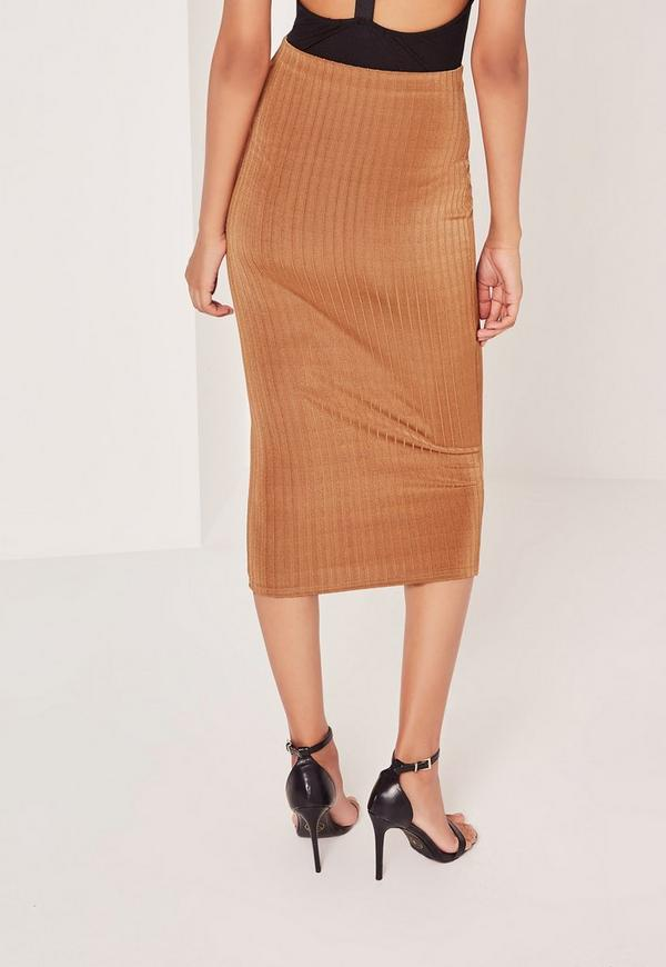 Wide Rib Midi Skirt Tan - Missguided