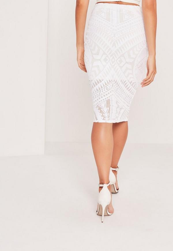 aztec print mesh midi skirt white missguided