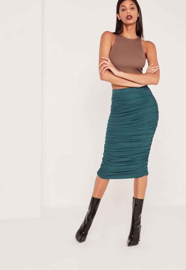 Ribbed Ruched Side Midi Skirt Blue