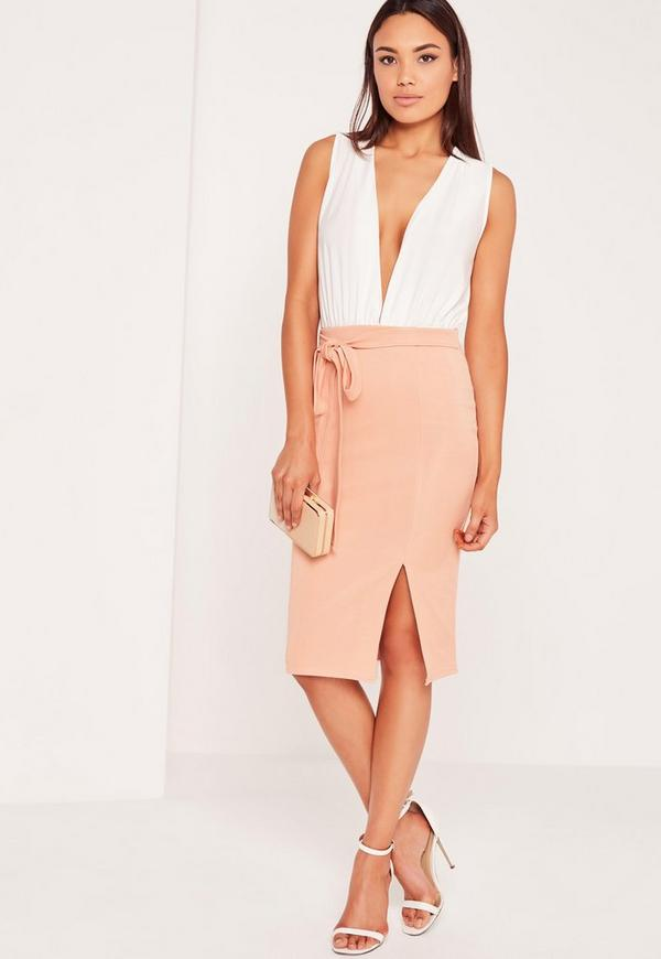 Tie Front Midi Skirt Pink
