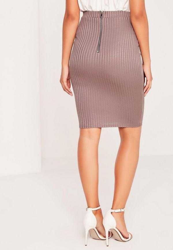 ribbed shiny midi skirt purple missguided