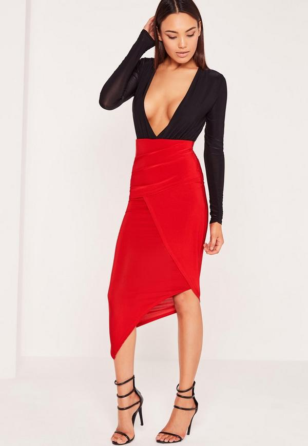 Slinky Ruched Side Midi Skirt Red