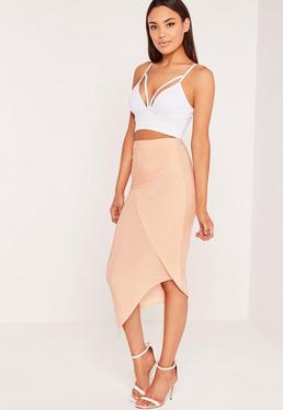 Slinky Ruched Side Midi Skirt Nude