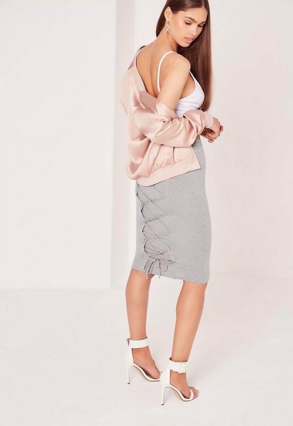Lace Up Back Eyelet Midi Skirt Grey