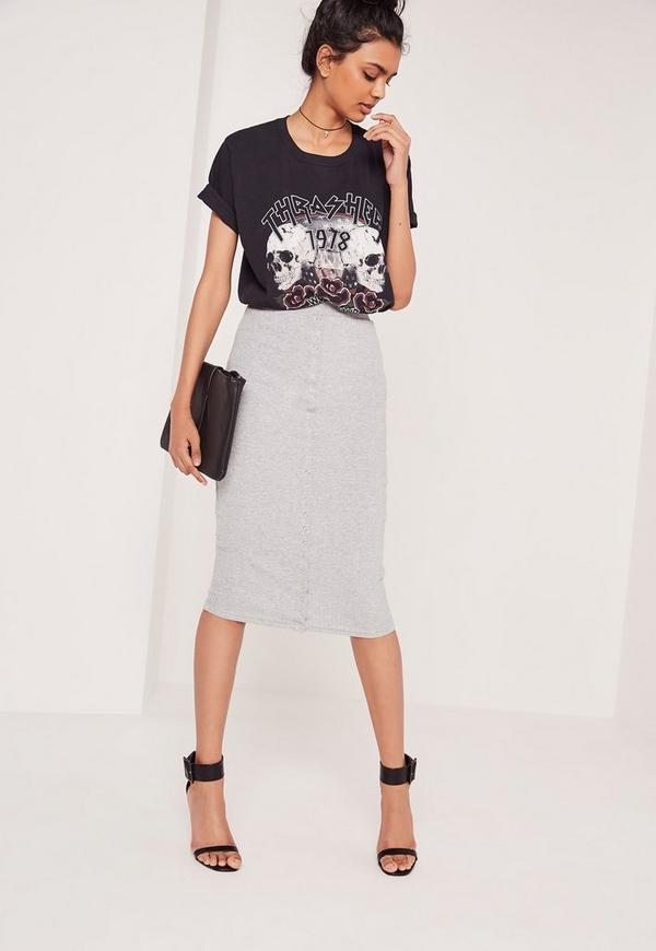 Ribbed Popper Through Maxi Skirt Grey Marl