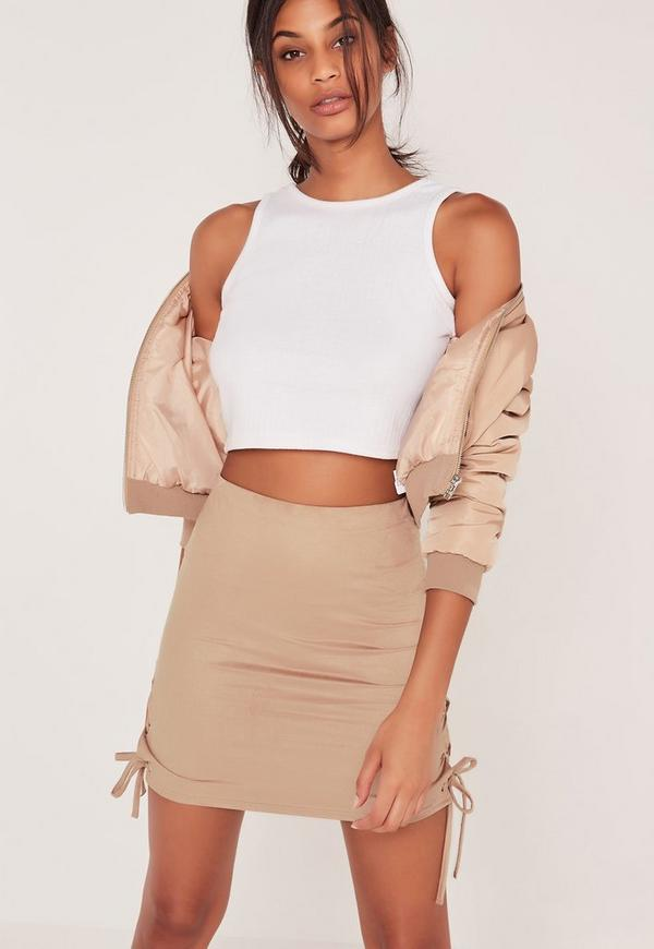 Faux Suede Lace Up Side Mini Skirt Nude
