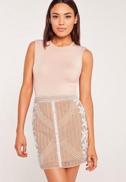 All Over Embellished Skirt Nude