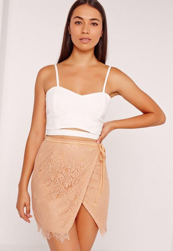 Wrap Lace Mini Skirt Tan
