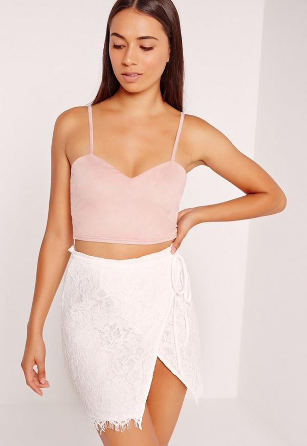 Wrap Lace Mini Skirt White