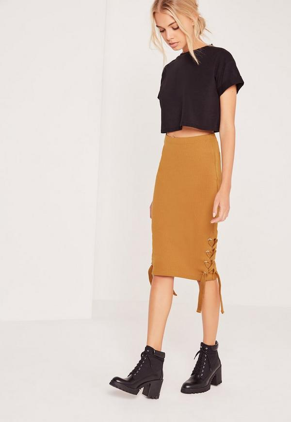 Chunky Lace Up Side Rib Midi Skirt Yellow