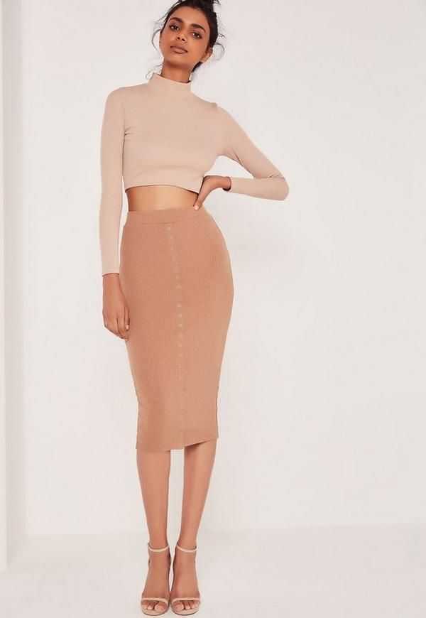 Ribbed Popper Through Maxi Skirt Brown