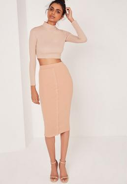 Ribbed Popper Through Midi Skirt Nude