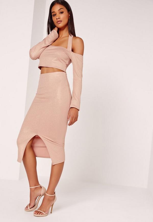 Lurex Ribbed Midi Skirt Nude