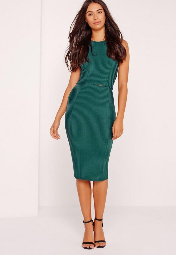 Contrast Ribbed Midi Skirt Green