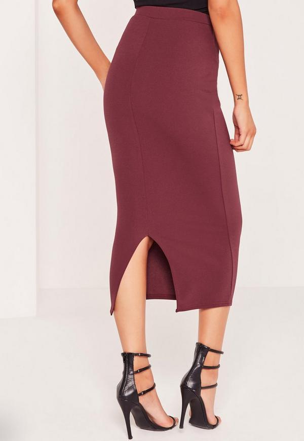 crepe midi pencil skirt burgundy missguided