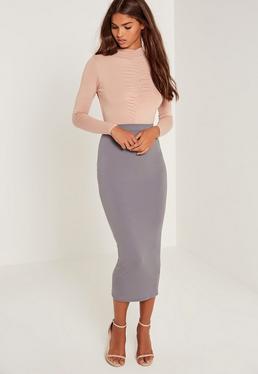 Jersey Midi Skirt Grey