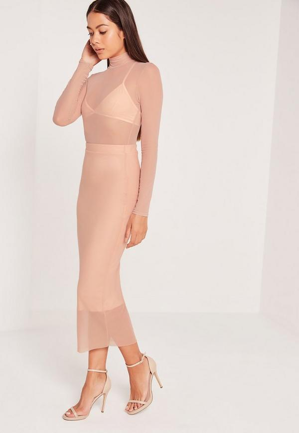 Mesh Overlay Midi Skirt Nude