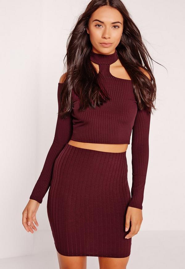 Ribbed Mini Skirt Burgundy