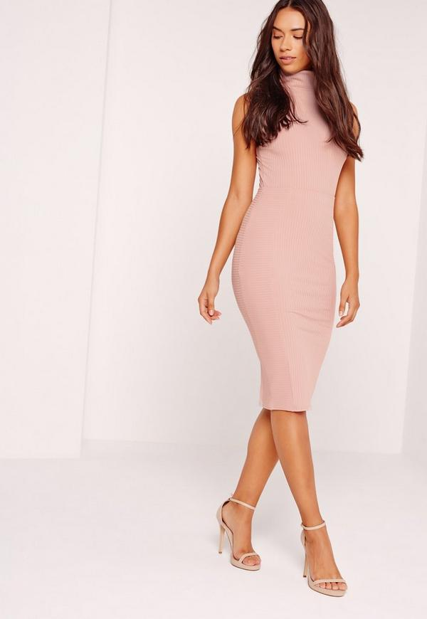 Contrast Ribbed Midi Skirt Pink