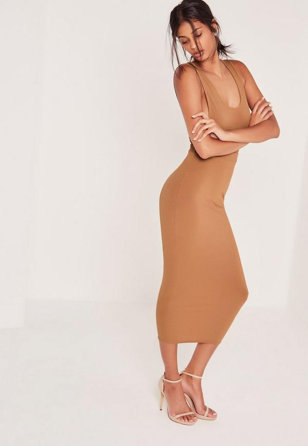ribbed midi pencil skirt camel missguided