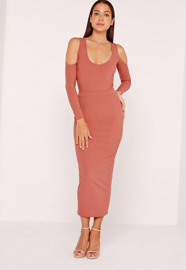 Ribbed Midi Skirt Rose Pink
