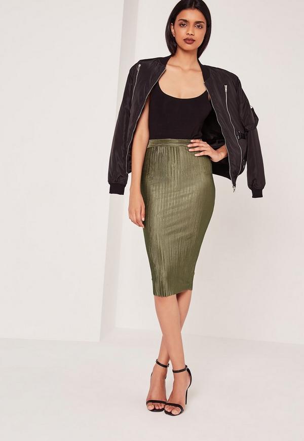 Crinkle Midi Skirt Khaki