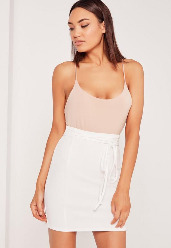 Crepe Tie Waist Mini Skirt White