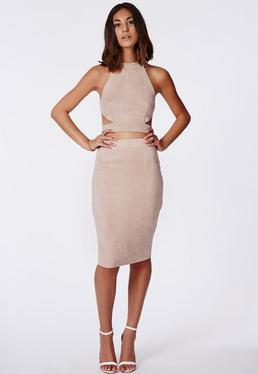 Berryana Faux Suede Midi Skirt Taupe