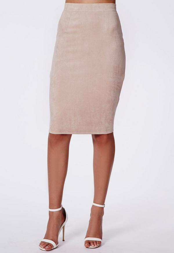 Berryana Faux Suede Midi Skirt Taupe | Missguided
