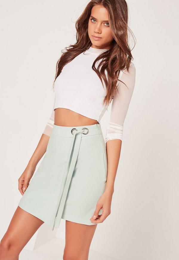 Eyelet Tie Side Wrap Skirt Green