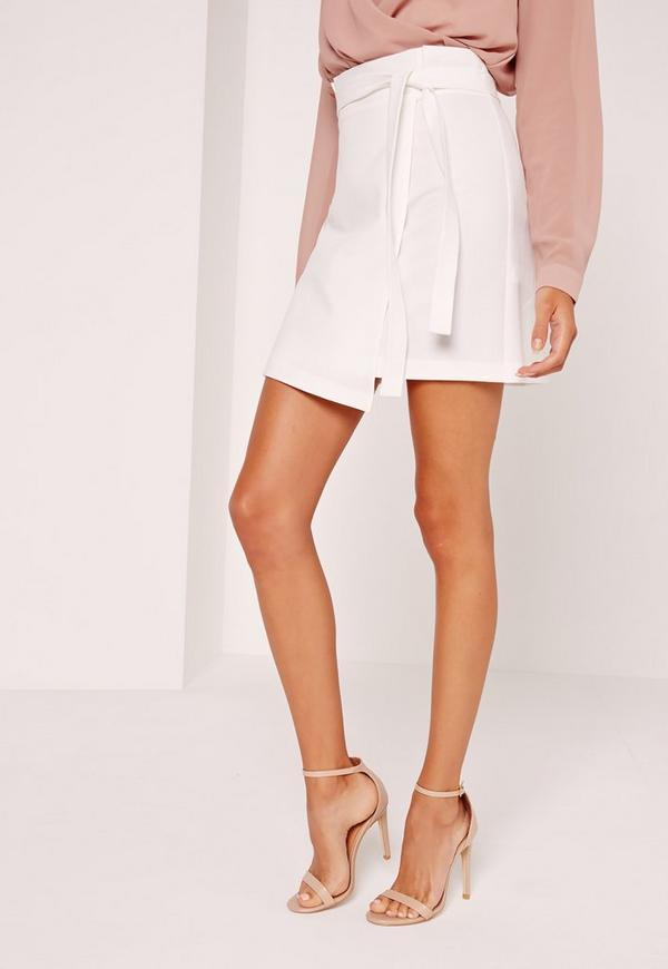 Paper Bag Waist Wrap Mini Skirt White | Missguided