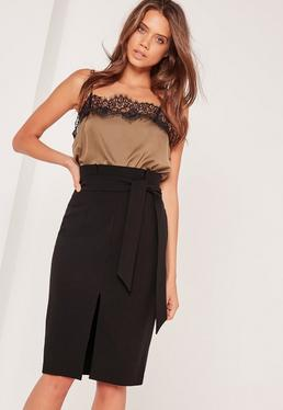 Paper Bag Waist Pencil Skirt Black