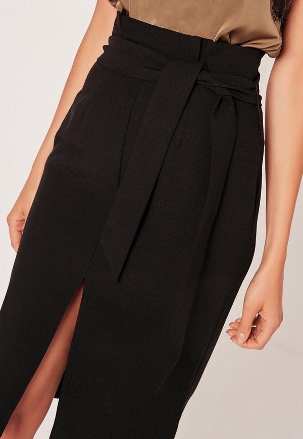 Paper Bag Waist Pencil Skirt Black Missguided